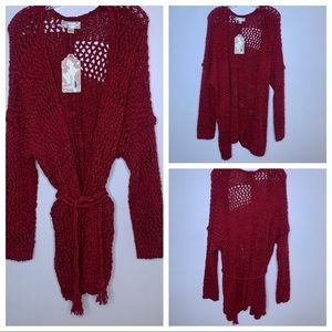 Band Of Gypsies Mix Stitch Open Front Tie Cardigan